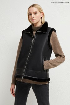 French Connection Black Dafine Faux Shealing Gilet
