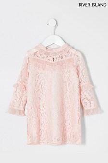 River Island Pink Light Profile Lace Chiffon Dress