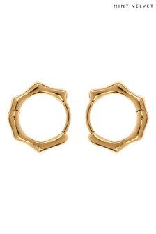 Mint Velvet Gold Tone Molten Huggie Earrings