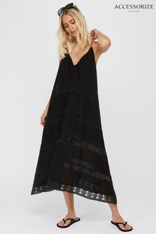 Accessorize Black Lace Insert Midi Dress