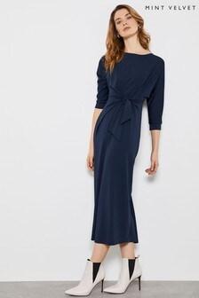 Mint Velvet Navy Tie Front Midi Dress