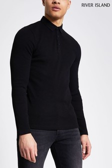River Island Black Slim Clean Pique Polo