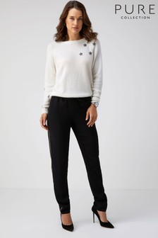 Pure Collection Black Soft Trousers With Piping Detail