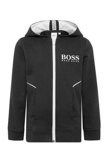 Boys Black Cotton Track Top