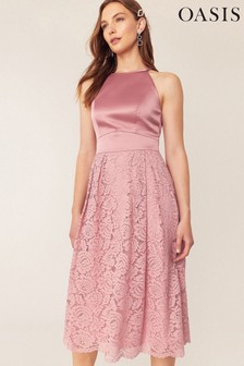 Oasis Pink Evie Lace Midi Dress