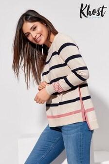 Khost Pink Fine Knit Stripe Jumper
