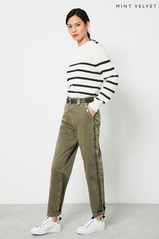 Mint Velvet Khaki Striped Chino Trousers