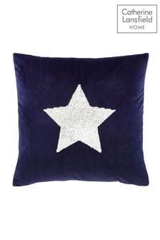 Catherine Lansfield Grey Sequin Star Cushion