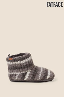 FatFace Grey Laurence Stripe Knit Boots