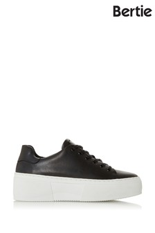 Bertie Electaa Black Leather Platform Sole Sport Sneakers