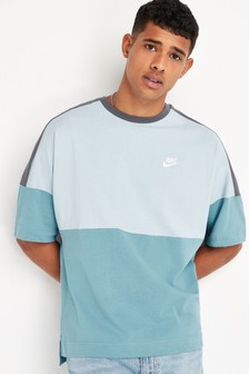 Nike Blue Colourblock Jersey T-Shirt