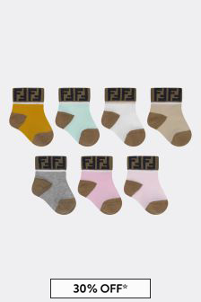 Fendi Kids Baby Girls Multicoloured Cotton Socks Seven Pack