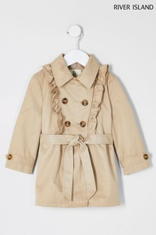 River Island Beige Frill Trench Coat