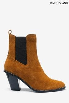 River Island Tan High Heel Western Boots
