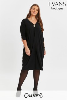 Evans Curve Black V-Neck Button Dress