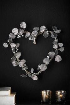 Artificial Silver Heart Wreath