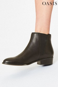 Oasis Black Artie Leather Ankle Boots