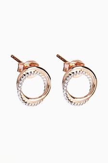 And Rose Gold Plated Circle Stud Earrings