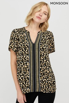 Monsoon Ladies Black Camillia Print Top