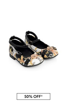 Girls Black And Gold Baroque Leather Shoes