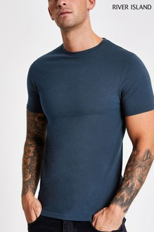 River Island Navy Muscle Crew T-Shirt