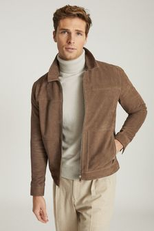 Reiss Camel Lace Suede Zip Through Jacket
