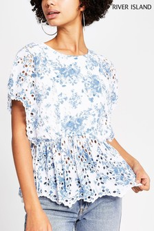 River Island Blue Embroidered Waisted Top