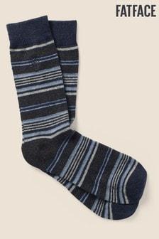 FatFace Blue Wool Blend Stripe Socks