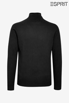 Esprit Black Cotton Cashmere Roll Neck Sweater
