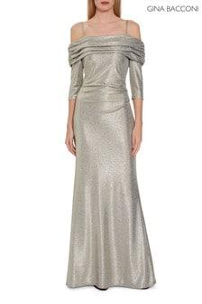 Metaliczna sukienka maxi Hosanna Gina Bacconi