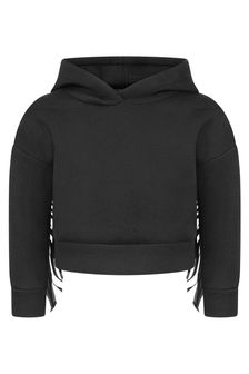 Girls Black Fringed Hooded Sweater