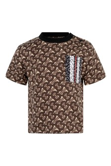 Boys Brown Bridle Print Cotton T-Shirt