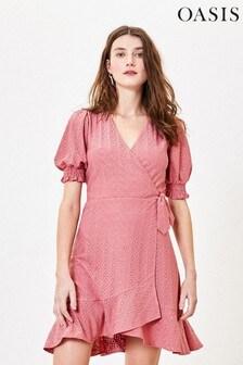 Oasis Pink Broderie Skater Dress