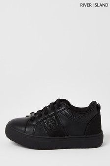River Island Black Lion Drenched Plimsoll Shoes