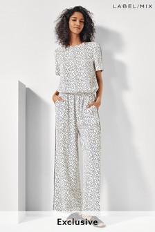 Mix/Cefinn White Printed Wide Leg Jumpsuit