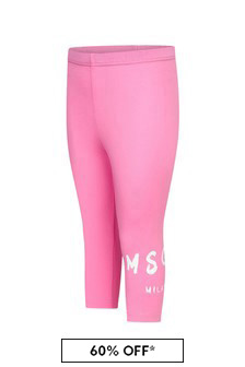 MSGM Baby Girls Pink Cotton Leggings