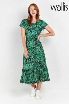 Wallis Green Ditsy Print Midi Dress