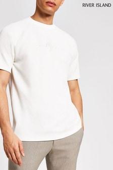 River Island Stone Medium Texture Maison Raglan T-Shirt