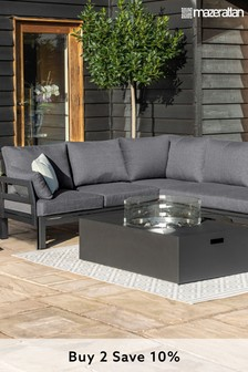 Oslo Corner Group With Rectangular Fire Pit Coffee Table By Maze Rattan
