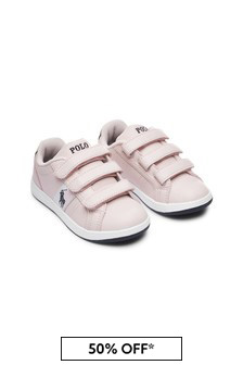 Girls Pink Velcro Trainers