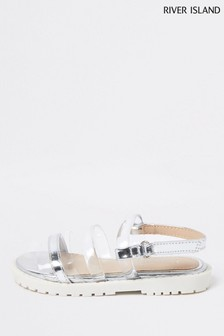 River Island Silver Light Jelly Strap Clumpy Sandals
