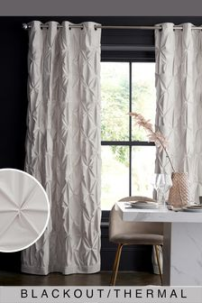 Oyster White All Over Pleated Luxurious Velvet Eyelet Blackout/Thermal Curtains