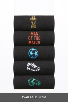 Football Embroidered Socks Five Pack