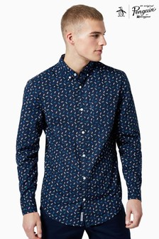 Original Penguin® Blue Geometric Print Cotton Shirt