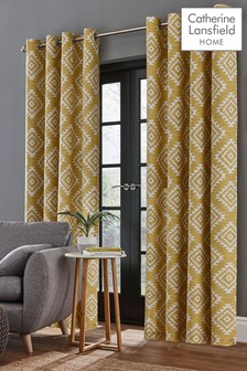 Aztec Geo Lined Eyelet Curtains by Catherine Lansfield