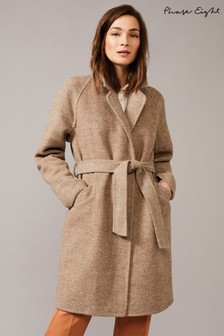 Phase Eight Neutral Dalma Double Faced Herringbone Coat