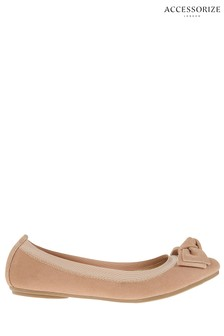 Accessorize Nude Elasticated Suede Bow Ballerinas