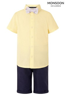 Monsoon Yellow Louis Linen 3 Piece Short, Shirt And Bow Tie Set