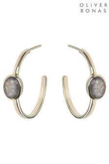 Oliver Bonas Leah Oval Stone Gold Plated Hoop Earrings
