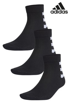 adidas Adults 3 Pack 3 Stripe Ankle Socks